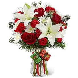 Lilies in Red Roses Bouquet | Fresh Flowers Delivery Pakistan