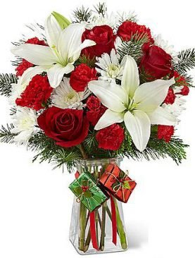 Lilies in Red Roses Bouquet