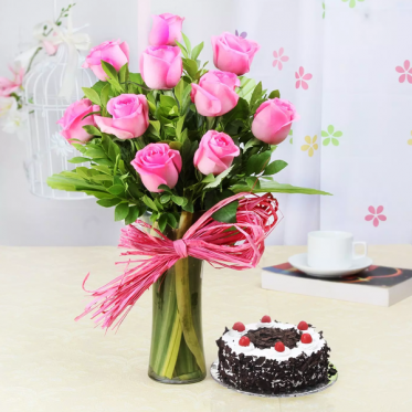 Pink Roses With Sweetness Affairs - Proflowers.pk