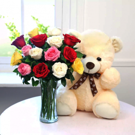 Flowers and Teddy Bear - ProFlowers.pk