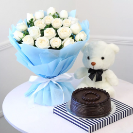 Love Treat for you Combo - Send White Rose & cake Online - Proflowers.pk