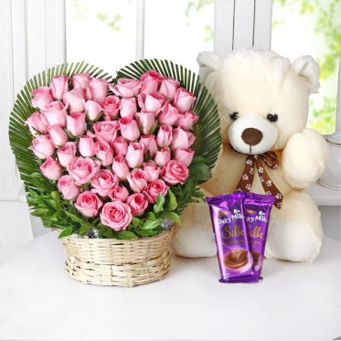 Pretty Pink Combo - SendFlowers & Teddy Combo Online - Proflowers.pk