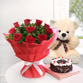 Rosy Combo - Send Flowers Cake & Teddy Online - Proflowers.pk