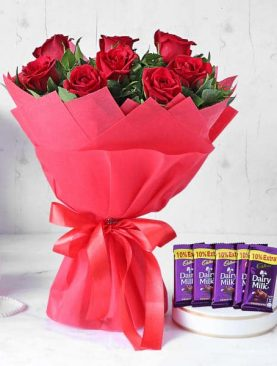Red Rose Bouquet with Cadbury