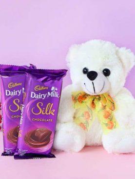 Teddy Bear with Cadbury Dairy Milk