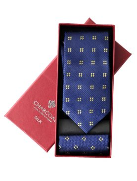 BOX SILK TIE SET – CHARCOAL