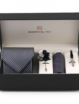 WHITE DOTTED GREY MEN 'S GIFT BOX - UNIWORTH