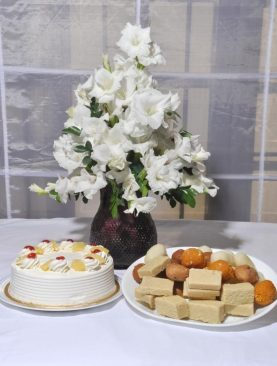 GLADS WITH PINEAPPLE CAKE & MITHAI