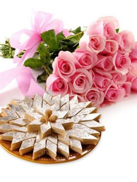 KAJU BARFI WITH ROSES